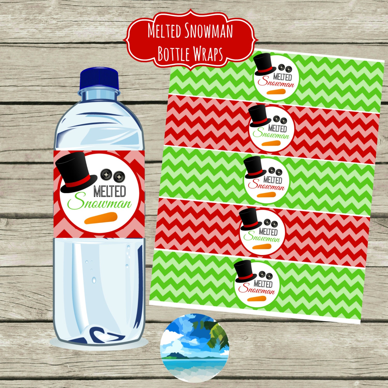 Melted Snowman Water Bottle Labels Digital By