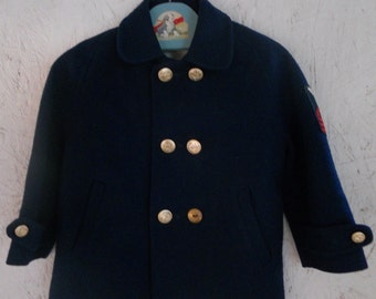 Vintage 60s Toddler Kids Nautical Coat Double Breasted Wool Coat Size 12-18 Months