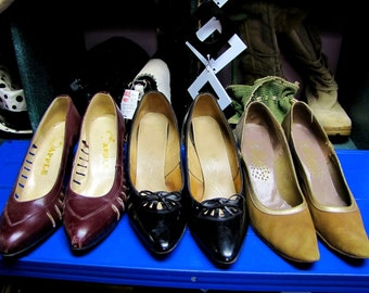 WHOLESALE Lot of 3 Pair, Vintage 60s & 70s Leather HIGH Heels, with CUT Outs, size 7, Great for Inspiration!