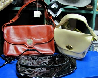 1970's Vintage, Ladies Patent Leather Purse, WHOLESALE 70s 80s Lot, MOD Boho Handbags