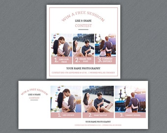 Facebook Promotion Marketing Board and Facebook Cover    Facebook Like, Share, comments   Photoshop & Elements Template   Instant Download