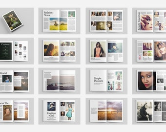 Photography Magazine Template 32 pages | Photography Brochure Template | Fashion Lookbook | InDesign Template |