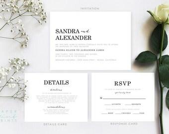 LAUREN SUITE   Wedding Invitation Suite, Invitation, Details Card, RSVP Card, Chic, Simple, Modern, Printable