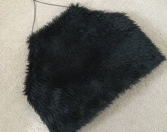 NEW Super sassy black faux fur halter top - uk 6-8
