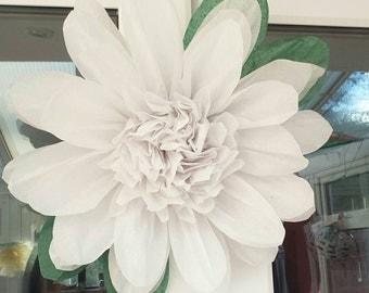 1 Large 43cm White Tissue Paper Flowers(pom-pom) Wedding/PartyCenterpiece