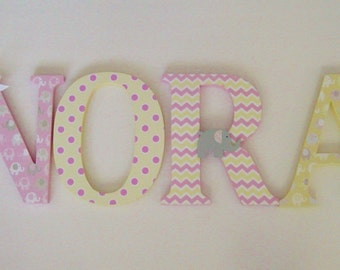 Wood Letters-Nursery Decor- Pink & Yellow, Elephant theme- Price Per Letter-Custom made -Many other designs available