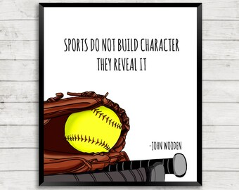 ON SALE Softball Art Print, Sports Art Print, Quote Art