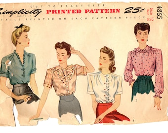 Simplicity vintage 1940s sewing pattern 4865 misses' blouses - Size 12