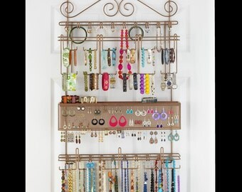 Longstem #7100 Overdoor or Wall Jewelry Organizer in Bronze - Holds over 300 pieces. Patented product - Rated Best!