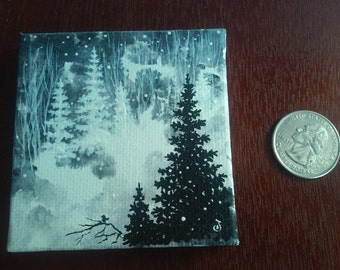 Snowy Forest miniature canvas painting