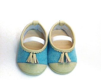 Turquoise White Girl baby shoes baby Girl shoes Infant shoes baby Shoes girl Ballerina shoes Soft Sole Shoes with tassel -Wool Leather