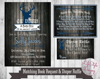 Oh Deer Baby Shower Invitation- A Baby Boy -Deer Baby Shower- Rustic Invitation- Blue- Diaper Raffle - Printable Invite- Digital File