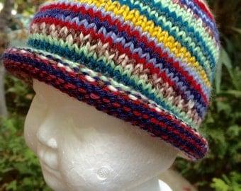 Superwash Multi Colored Wool Baby Hat (6-12Mos)