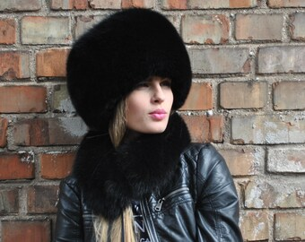Norvegian black fox full fur hat S/M or L