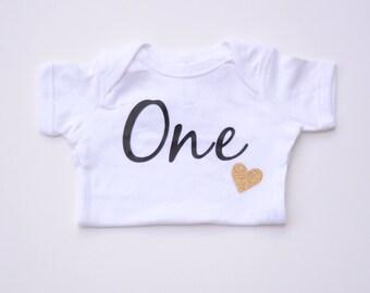 First Birthday Onesie 1st Birthday Shirt Birthday Girl Shirt Glitter Birthday Onesie Baby Onesie Personalized Onesie First Birthday Shirt