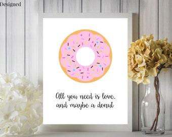 Love And A Donut Digital Printable 8x10