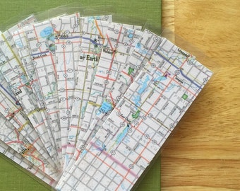 MAP Bookmarks - urban map, handmade, laminated, one of a kind