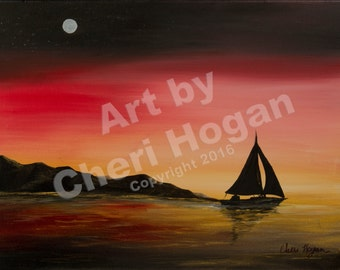"Evening Sail 01    12""x16""  this is the orignal  oil painting on canvas.  one and only"