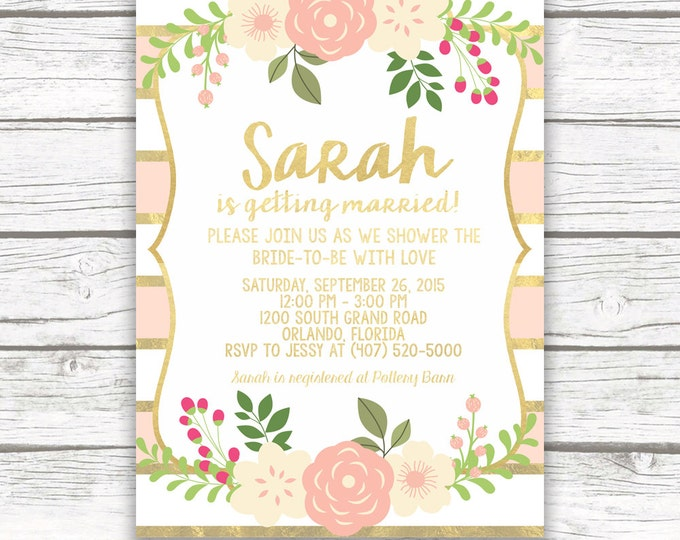 Peach and Gold Foil Floral Bridal Shower Invitation w/ Matching Back, Pink Striped Rustic Bridal Shower, Printed or Printable Invitation