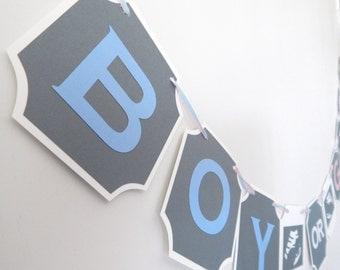 Gender Reveal Banner, Boy or Girl Banner, Sonogram Banner, Gender Reveal Party Decor, Blue and pink banner