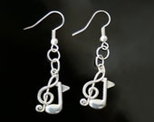 Gift for her Treble Clef earrings Music earrings note earrings Statement jewelry Hippy earrings Music accessories  Note charm