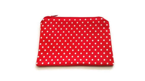 Polka dots makeup organizer, cosmetic storage case, makeup case, zipper pouch, toiletry bag, bridal shower gift, bag organizer, makeup pouch