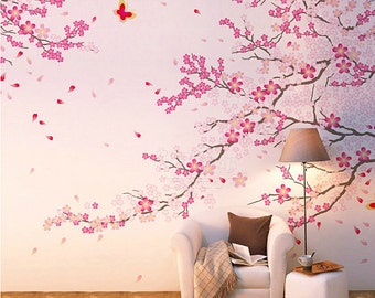 Cherry blossom wall decal etsy for Cherry blossom wall mural stencil