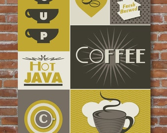 Coffee Kitchen Art Print, Colorful Kitchen Decor, Coffee Lover, Kitchen Wall Art, Modern Kitchen Art