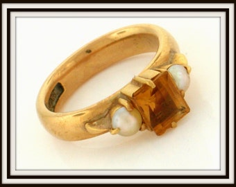 Victorian authentic GRAVES and CO. heavy 18K yellow gold citrine and pearl RING C1850
