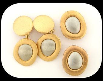 Vintage Haute Couture Runway Gold and Silver Tone Clip On Earrings & Button Covers SET
