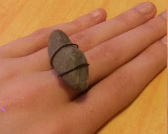 Long Stone Wire Wrapped Ring