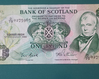 Paper Currency from the Bank of Scotland value of One Pound, 1985