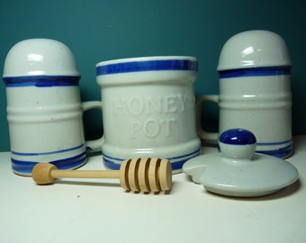 Blue and stoneware salt and pepper and honeypot