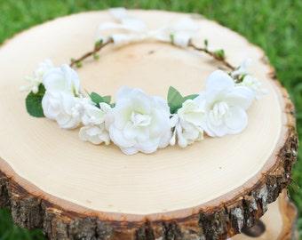 Rustic flower crown, flower headband, floral crown, flower wreath, first communion, bridal, newborn photos