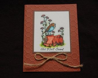 Get Well card, water colored bird on a terra cotta pot