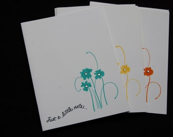 Note cards/punched flower with gem center/set of six