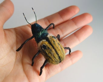 Needle Felted Yellow & Green Beetle, Felted Insect, Needle Felted bug, Soft sculpture, Curio