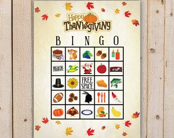 Thanksgiving Bingo Game with 20 unique Bingo cards and 30 large and small calling cards - Printable, INSTANT DOWNLOAD