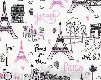 Woven Fabric - White Paris w/Metallic - Fat Quarter Yard +