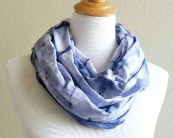 Hand Painted Scarf, Hand dyed Scarf, Summer Scarf, Cotton Scarf, Light weight Scarf, Tie- Dye Scarf, blue Shibori Scarf, blue & white scarf