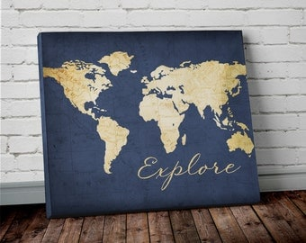 Explore WORLD MAP Wall ART- Canvas World Map Print in Navy Blue and Gold