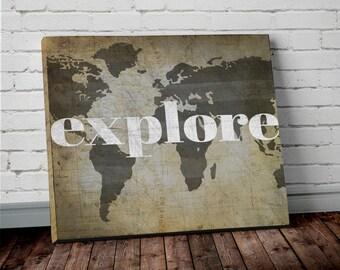 Explore WORLD MAP Wall ART- Canvas Print of World Map