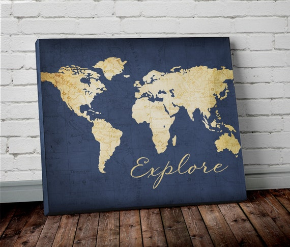 Explore WORLD MAP Wall ART Canvas World Map Print In Navy