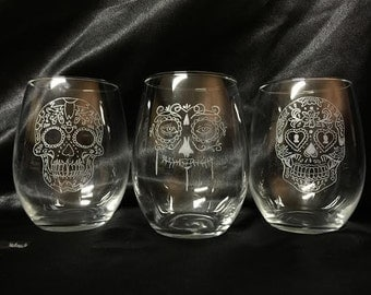 Custom Etched Skull drinking glasses