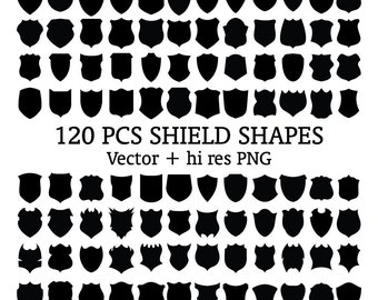 Shield Clipart, Badge Clipart, Emblem Clipart Emblem, Shield, Badge Silhouette PNG & Vector EPS, AI Design Elements Digital Instant Download