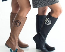 Monogram Boots, Brown Boots, Black Boots, Monogrammed Boots, Zip Up Boots, Personalized Boots, Initials, Letters