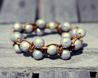Freshwater Pearls & Leather Bracelet - 6425-3