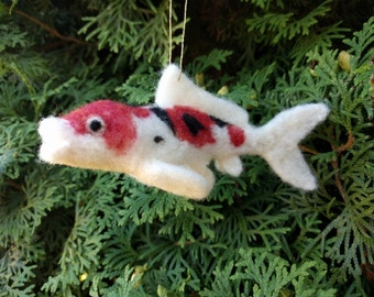 Needle Felted Animal, Sanke Koi Fish Ornament