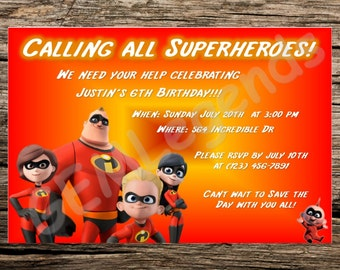 Incredibles Birthday Invitation, Incredibles Party, Incredibles Invitation Printable, DIGITAL DOWNLOAD
