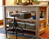 Rustic Farmhouse Style Table / Kitchen Island FREE LOCAL DELIVERY Drawers Storage